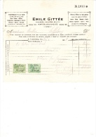 1928 Brief Lettre Facture Emile Gittée Chausée D'Anvers Antwerpsesteenweg Gent St Amandsberg Vensterglas - Belgique