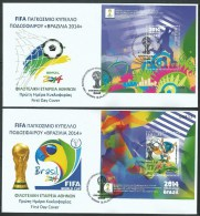 2014 FIFA WORLD CUP ´´ BRAZIL 2014 ´´- SET OF NUMBERED SOUVENIR SHEETS On FDC - FDC
