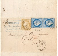 TB 265 - TB Type Cérès N°  55 & 60  Sur Lettre Tribunal OB CHATILLON - SUR - SEINE - Postmark Collection (Covers)
