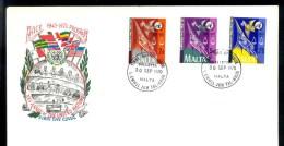 MALTA 1970 * FDC COMPLETE SET PEACE IN PROGRESS 25th ANNIVERSARY UNITED NATIONS - Malta