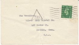 1941-42 George VI, 1/2p Issue (Sc#258) Single Stamp Use Cover London To Meriden Connecticut USA - 1902-1951 (Kings)