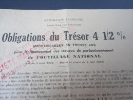 Obligations Du Trésor 4  1/ 2 % Amortissables En 30 ANS Pour Le Financement Des Travaux De Perfectionnement De NATION - Dokumente