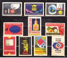 10 Verschiedene Tschechische Etiketten Ab Ca. 1950 (59977) - Zündholzschachteletiketten