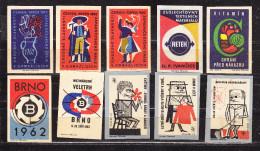 10 Verschiedene Tschechische Etiketten Ab Ca. 1950 (59978) - Zündholzschachteletiketten