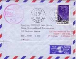 PARIS - AVIATION - 6-2-1871 - LETTRE AVEC 2 CACHETS COMMEMORATIFS 25e ANNIVERSAIRE DU 1er VOL PARIS-NEW YORK. - Luchtpost