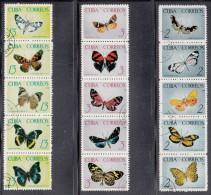 Cuba Used Scott #1000a, #1005a, #1010a Strips Of 5 Each Butterflies - Cuba