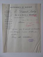 Lettre 1921 Instruments De Musique Pianos Emile Druart Laby à Soignies - 1900 – 1949