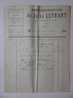 Facture 1903 Marbrerie Sculpture Travaux D'Art Jules Lefrant à Soignies - 1900 – 1949