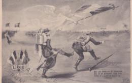 CPA PATRIOTIQUE. MILITAIRE. Liége. Casque à Pointe . Soldat Français  Bottant  L´arrière-train D´un Soldat Allemand. - Patriotic