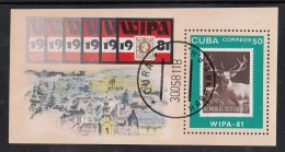 Cuba Used Scott #2411 Souvenir Sheet 50c Austria No. 643 - WIPA '81 - Cuba