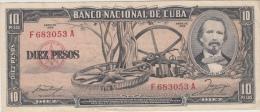 CUBA 10 Pesos 1958 P88b VF+