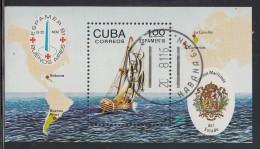 Cuba Used Scott #2447 Souvenir Sheet 1p Sailing Ship - ESPAMER '81 Buenos Aires - Cuba