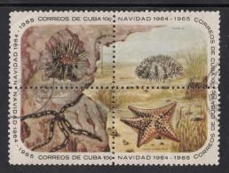 Cuba Used Scott #923-#926 Block Of 4 Different 10c Starfish And Sea Urchins - Cuba