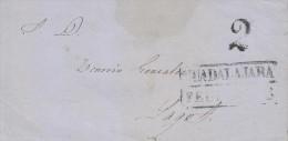 G)1856 MEXICO, 2 REALES MARK, GUADALAJARA BLACK BOX, FRONT COVER CIRCULATED TO LAGOS, VF - Mexico