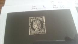 LOT 221884 TIMBRE DE  FRANCE OBLITERE N�3 VALEUR 60 EUROS