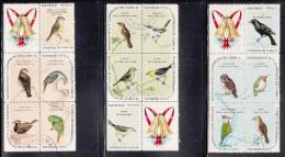 Cuba Used Scott #1576a, #1581a, #1586a Blocks Of 5 Plus Label Birds - Christmas - Cuba