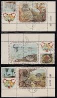 Cuba Used Scott #916a, #921a, #926a Blocks Of 5 Plus Label Coral, Jellyfish, Starfish - Christmas - Cuba