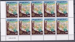 Morocco1978: ROTARY  Yvert 811mnh** Block Of 10 - Rotary, Lions Club