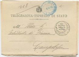 1912 SPLENDIDO TELEGRAMMA ESPRESSO DI STATO DA LIMOSANO (CAMPOBASSO) 8.10.12  ANNULLO VERDE CAMP…VEDI DESCRIZIONE (6296) - 1900-44 Vittorio Emanuele III