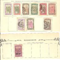 MADAGASCAR / Lot De 10 Timbres Sur Charnières Dont 8 Oblitérés Sur Feuilles Ancien Album / Petit Prix - Madagascar (1889-1960)