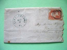 USA 1861 Small Cover From Littlestown PA To Reisterstown MD - Washington (Scott 65) (damaged) - 1847-99 Unionsausgaben