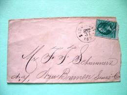 USA 1870 Cover Sioux City Iowa To New Bremen, Lewis, N.Y. - Washington (Scott # 136 = 27.5 $) (broken In A Corner) - 1847-99 Unionsausgaben