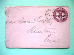 USA 1896 Pre Paid Cover Lexington To Virginia - Columbus And Liberty - Eagle (Scott U349) - 1847-99 Unionsausgaben