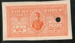 India Fiscal Jaipur State 4As King Man Singh Type10 KM103 Court Fee Revenue Stamp Inde Indien #  3985B - Jaipur