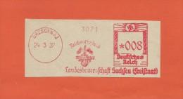 DR Stempel Dresden A 1, Vom 24.3.1937 Landesbauernschaft Sachsen , Briefausschnitt Freistempel - Deutschland