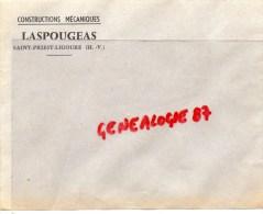 87 - SAINT PRIEST LIGOURE- ENVELOPPE CONSTRUCTIONS MECANIQUES- LASPOUGEAS - Frankreich