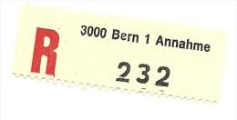 Svizzera - Tagliandino Raccomandata C3548, - Suisse
