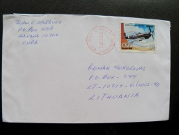Cover Sent From Kuba To Lithuania On 2012 Plane Airplane Avion Transport Aviones - Cartas