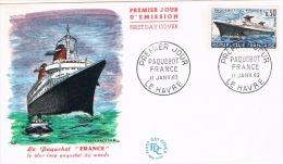FRANCE F.D.C  Paquebot FRANCE 1er Jour 11 01 1962  LE HAVRE - FDC