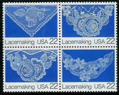 1987 USA Lace Making Stamps Sc#2351-54 2354a Textile Art - Textile