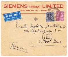 """Indien - 3 Annas 6 Pies + 8 Annas Auf Luftpostbrief Von """"Lahore 24.8.1937"""" Nach Köln - Inde"""