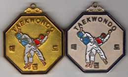 Lot De 2 Médailles Tae-Kwon-Do : Médaille D'Or (Dorée) + Médaille D'Argent (Argentée) - Jetons En Medailles