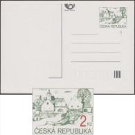 République Tchèque 1994. Carte Postale D´usage Courant, Timbrée 2 Kc, Avec Erreur, Sans Impression De La Valeur. Village - Variétés Et Curiosités