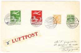 Dänemark Luftpostbrief 11.7.25 Kobenhavn Nach Belgien (u.a. Mi#145) - Poste Aérienne
