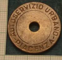 m_p> CURIOSITA� Gettone per Autoservizio Urbano Piacenza in bronzo