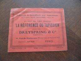 Catalogue Publicitaire Illustré. Dreyspring. Paris.Tapissier,décoration Intérieur 16 Pages. En L´état Voir Photos - Advertising