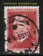 YUGOSLAVIA    Scott  # 290  VF USED - 1945-1992 Socialistische Federale Republiek Joegoslavië
