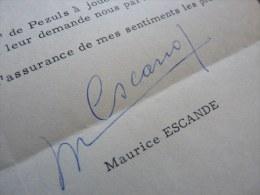 Maurice ESCANDE (1892-1973) COMEDIE FRANCAISE Acteur & Administrateur. [Feydeau] - Autographs