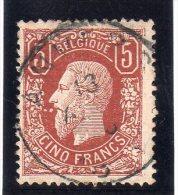BELGIQUE : N� 37 OBL . 1869/78 . UNE DENT D'ANGLE PLI ; SIGNE SCHELLER .
