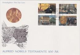 PRIX NOBEL PRIZE NOBELPREIS - ALFRED NOBEL'S WILL AUTOGRAPH DES TESTAMENTS  - SWEDEN 1995 MI 1917 FDC Slania - Nobelpreisträger
