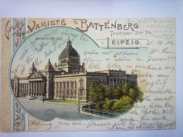 GRUSS  Aus  Dem  VARIETE  BATTENBERG  -  LEIPZIG   1902 - Leipzig