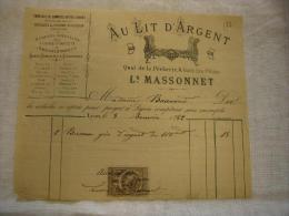Belle Facture Illustrée Au Lit D'argent Massonnet  à Lyon 1882 Avec TP Fiscal - 1800 – 1899