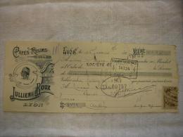 Belle Facture Illustrée Cafés Rhums Huiles Jullien & Roux   à Lyon 1905 Avec TP Fiscal - 1900 – 1949