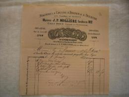 Belle Facture Illustrée Machines à Coudre Maison JP. Mollière   à Lyon 1873 - 1800 – 1899