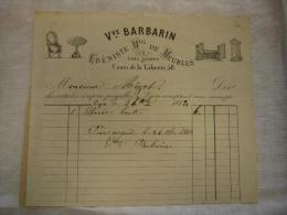Belle Facture Illustrée Vve Barbarin ébéniste Meubles En Tous Genres Lyon 1883 - 1800 – 1899
