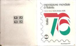 77967) Cartoncino Ufficiale Della Esposizione Mondiale Di Filatelia -italia 76-con Serie Completa Nuova Ed 4 Etichette A - 6. 1946-.. Repubblica